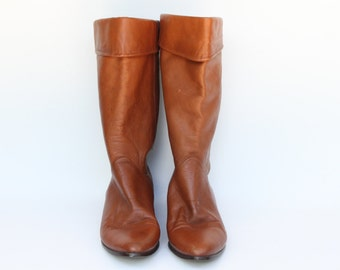 Vintage Nine West Women's Brown Leather Boots Size 7.5