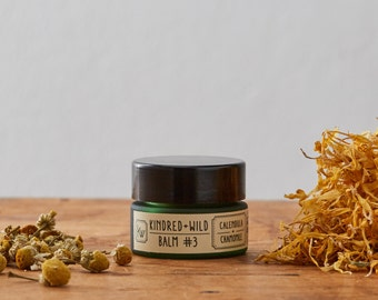 Organic Balm #3: Calendula + Chamomile - Natural, unscented, multipurpose  soothing balm for skin and lips