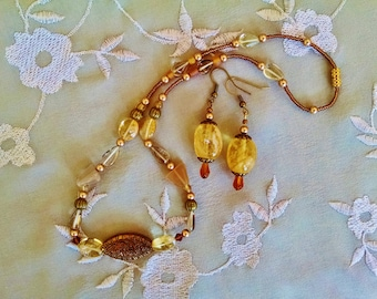 Citrine necklace earring set, Bohemian gypsy Citrine antique gold brown crystal necklace earring set