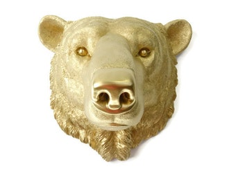 Polar Bear Head Wall Mount - Faux Taxidermy - LARGE Metallic Gold Polar Bear Wall Mount - Arctic Bolar Bear Faux Taxidermy PBE08