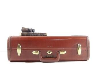 Vintage Brown Leather Suitcase / Samsonite Suitcase / Vintage Luggage