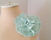 Cabbage Rose Fabric Flower Pin With Rhinestone Center by GoHeyJudy