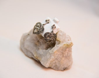 Sterling silver and marcasite dangle heart earrings