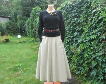 Long Cotton Skirt / Skirt Vintage / A Line Skirt / Pockets / Elastic Waist / Poly / Ivory /  Long Skirt / Skirt Size EUR42 / UK14