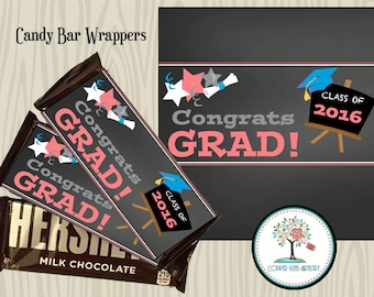 Graduation Candy Bar Wrappers, Graduation Party Favors, Graduation Gift, Candy Bar Label, Printable, Instant Download, Hershey Bar Wrapper