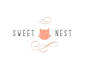 Owl Logo - customizable  I  Pre-designed   I   peach