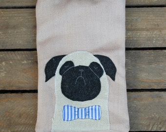 "Pug in bowtie pink Tablet Sleeve - Original Kindle, Kindle 2, Kindle 3, Kindle Fire, Samsung Tablet, 7"" tablet"