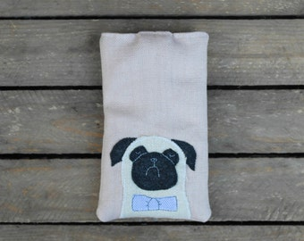 Pug Dog Phone Cover / Glasses / Case / Bowtie / Pink