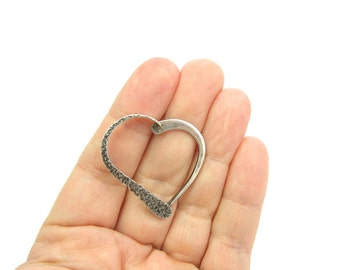 Heart Brooch. Sterling Silver Pin, Modern Hand Wrought Open Design. Signed 'Gove'  Vintage 1950s Jewelry