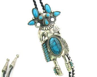 Southwestern Bolo Tie. Medicine Man Kachina Dancer Slide. Imitation Turquoise. Native American Style. Vintage 1970s Statement Jewelry