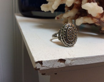 Oval Marqusite Sterling Ring