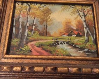 Landscape painting on Board Birch Trees Cabin in Woods