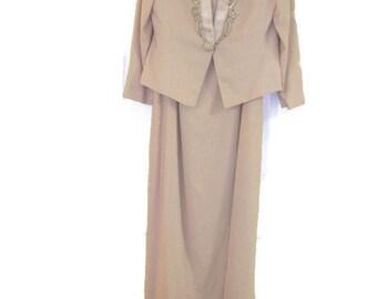 Size 14 NAH NAH Collection lined slide slit crepe evening jacket dress with beading