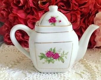 Shabby Chic Roses Teapot, Ceramic Roses Teapot, Cottage Chic Teapot, Antique Little Teapot