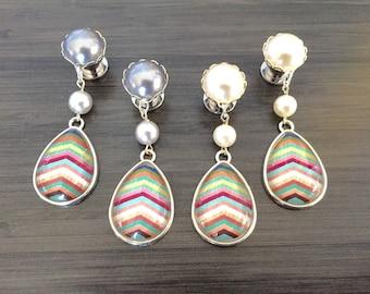 0g Dangle Plugs 4g, 2g Gauged Earrings Mint Pink Blue Chevron Wood Pattern Teardrop Plugs 6g Ear Plugs, 00g Dangly Body Jewelry