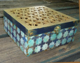 Moroccan inspired Box , jewelry box, wedding gift, keepsake box