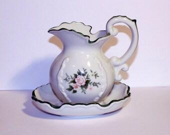 Vintage Water Pitcher and Wash Basin Set, Small Water Pitcher and Basin Set, Vintage Vanity Decor, Vintage Flower Vase