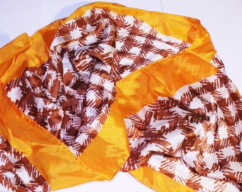 Vintage Brown and Gold Head Scarf, Made in Japan Scarf, Brown White Patterned Scarf