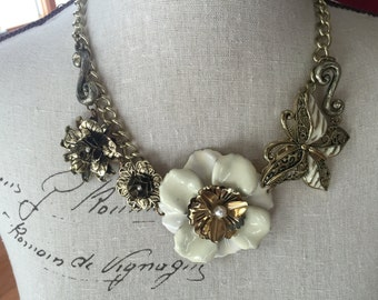 Antique gold flower and butterfly necklace