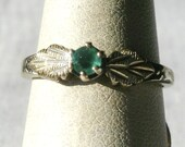 Black Hills Sterling Silver Ring With Green Stone-Size 6