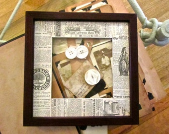 Handmade photo mat made from antique book pages