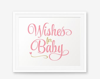 Wishes for Baby Printable, Girl Nursery Printable, Girl Baby Shower Sign, Girl Nursery Art, Baby Shower Decorations, Baby Shower