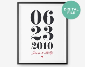 Printable Personalized Custom Anniversary or Wedding Date or Special Date Printable