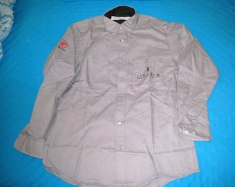 Lincoln Mercury Gray Men's Dealership Uniform Shirt With Logos By Red Kap / NOS / Sz. 46