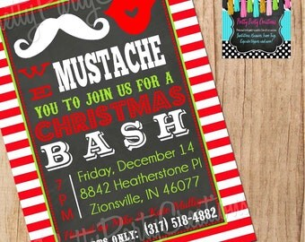 SANTA MUSTACHE BASH invitation - You Print