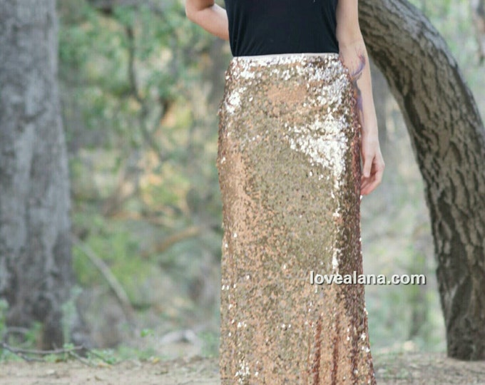 Golden Peach Maxi Skirt - Stretchy, gorgeous high quality sequins - Long sequined skirt - S, M, L, XL