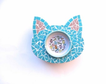Mosaic Cat Feeder, Elevated Cat Bowl, Ceramic Cat Bowl, Cat Dish, Raised Cat Bowl, Gift for Cat Lovers, Pet Feeders, Pet Bowls, Meow