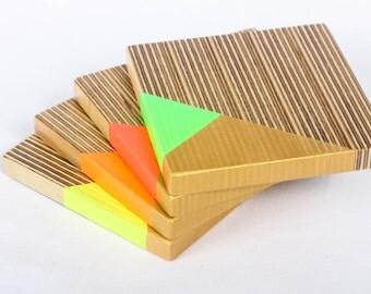 Gold & Neon Plywood Coaster Set
