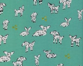 Clover Little Lambs in Turquoise, Alexia Marcelle Abegg, Cotton+Steel, RJR Fabrics, 100% Cotton Fabric, 4025-3