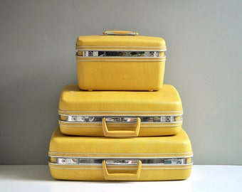 Vintage Bright Yellow Samsonite Suitcase Set
