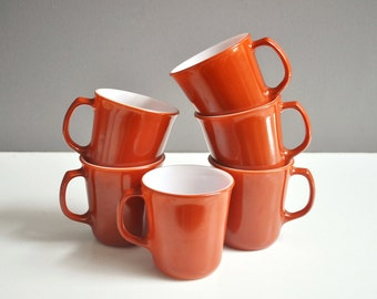 Vintage Pyrex Mug Collection - Pumpkin Orange