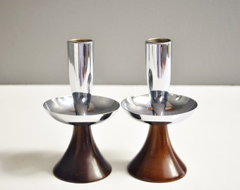 Vintage Wood and Metal Taper Candle Holders