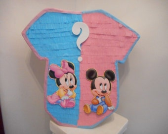 MICKEY MINNIE onesi  baby shower gender reveal pinata pull strings traditional boy girl