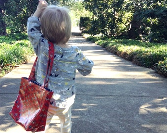 """Childs Tote Bag in Laminated Cath Kidston """"Stanley"""" Print Lined in Navy with White Polka Dots"""