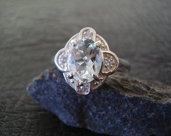 Genuine Aquamarine Octagon & Sapphire Ring - 925 Sterling Silver Ring - Alternative Oval Cut Engagement Ring - Women's Unique Wedding Ring