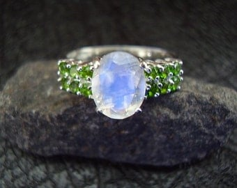 Moon Envy - Genuine Moonstone & Chrome Diopside Engagement Ring, Solid 925 Sterling Silver Ring, Gifts For Her, Moonstone Wedding Ring