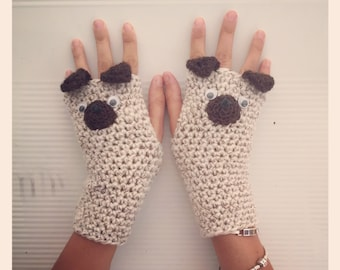 Pug, dog, doggie fingerless gloves, wrist warmers. One size fits all.