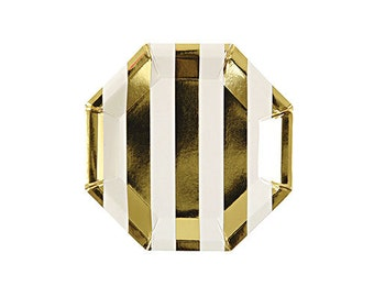 Gold Stripe Hexagon SMALL Party Plates -  hors d'oeuvres and tid bit plates