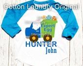 Easter t-shirt - Easter egg hunter Easter bunny boy truck personalized raglan style Easter shirt