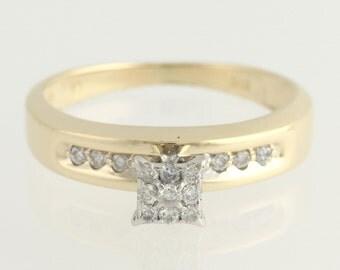 Diamond Engagement Ring - 14k Yellow & White Gold .20ctw Unique Engagement Ring L9487