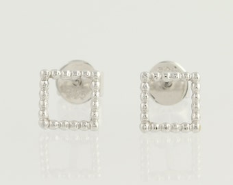 Gold Stud Earrings - 14k White Gold Squares Pierced N730
