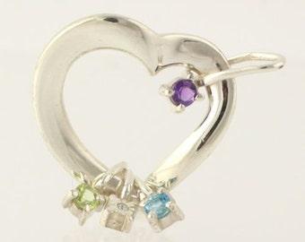 Gemstone Heart Pendant - Sterling Silver Gems Amethyst r5911