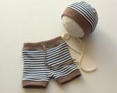 Newborn Photography Props-Newborn Stripe Shorts with Matching Bonnet Set-Baby Boy Pants,Hat Set-Baby Boys' Clothing-Photography Prop Set