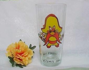 Vintage Yosemite Sam Cartoon Character Drinking Glass, Pepsi Collector Series Advertising Tumbler, 1973 Warner Bros. Looney Tunes