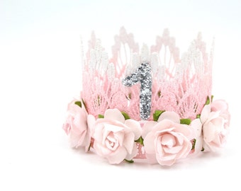 New    Pink + White Birthday   flower MINI lace crown headband  customize ANY AGE