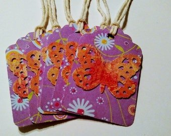 Butterfly Tags, free shipping, purple tags, butterfly gift tags,